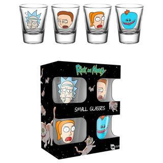 Set 4 Vasos Chupito Faces Rick & Morty-