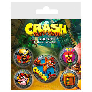 Set 5 Chapas Crash Bandicoot-